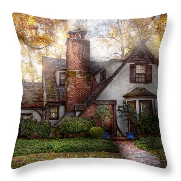 Cottage - Westfield NJ - Grandma Ridinghoods house Throw Pillow by Mike Savad