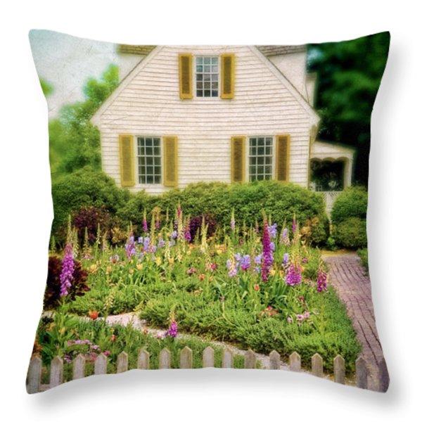 Cottage and Garden Throw Pillow by Jill Battaglia