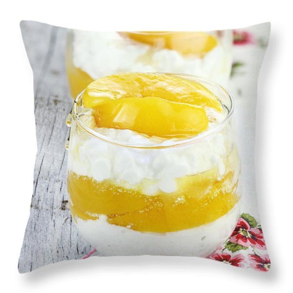 Cottage Cheese And Peaches  Throw Pillow by Stephanie Frey