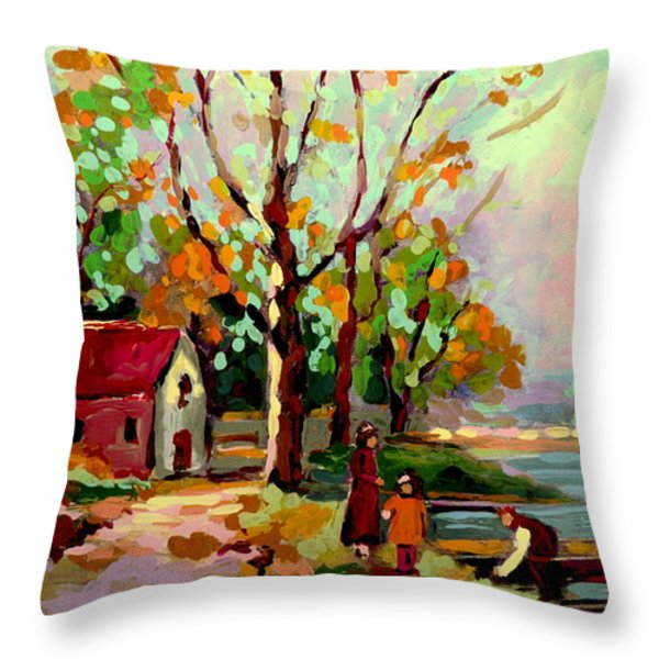 COTTAGE COUNTRY THE EASTERN TOWNSHIPS A ROMANTIC SUMMER LANDSCAPE Throw Pillow by CAROLE SPANDAU