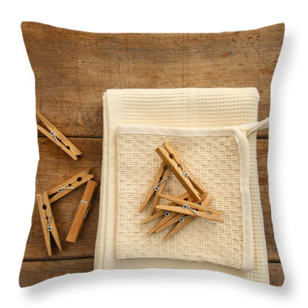 Cotton Dish Towel With Clothes Pins Throw Pillow by Sandra Cunningham