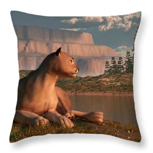 Cougar At Evening Throw Pillow by Daniel Eskridge