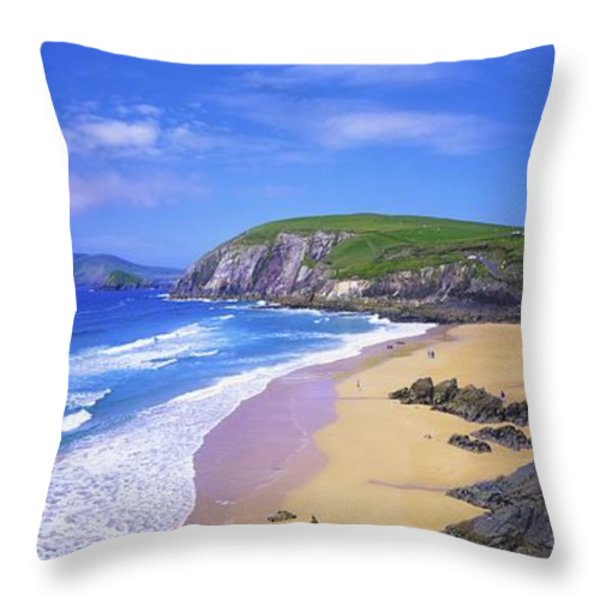 Coumeenoole Beach, Dingle Peninsula, Co Throw Pillow by The Irish Image Collection