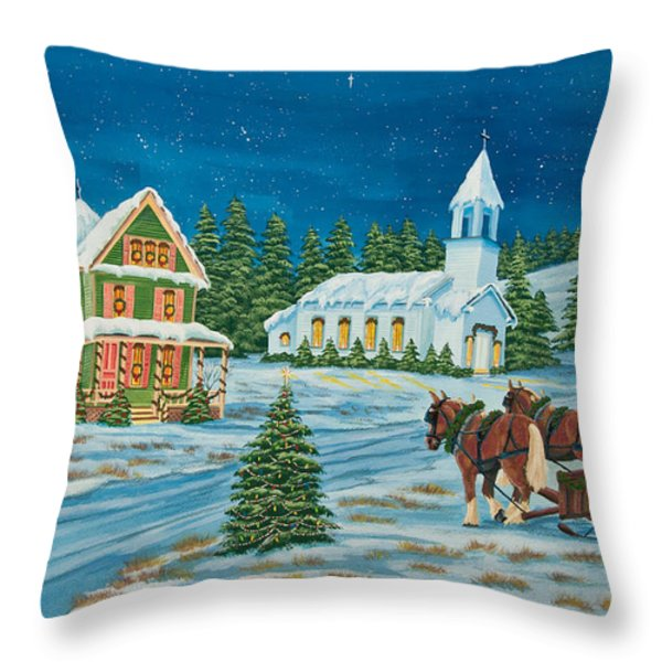 Country Christmas Throw Pillow by Charlotte Blanchard