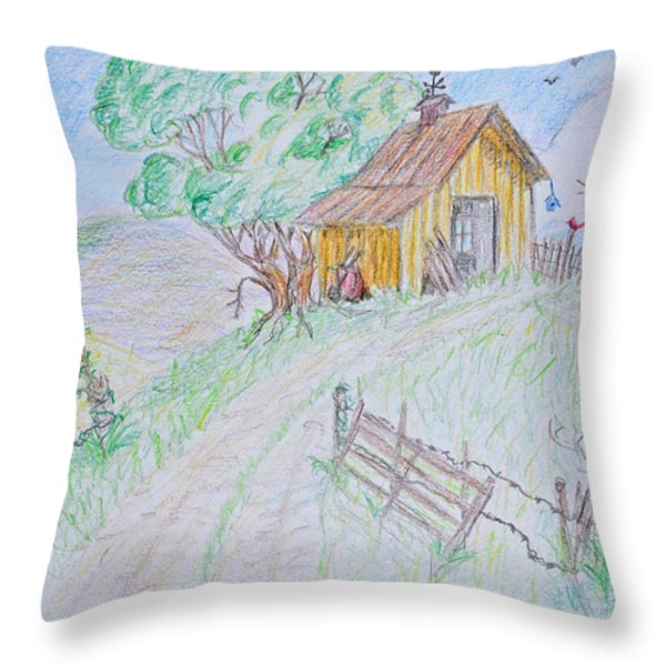 Country Woodshed Throw Pillow by Debbie Portwood