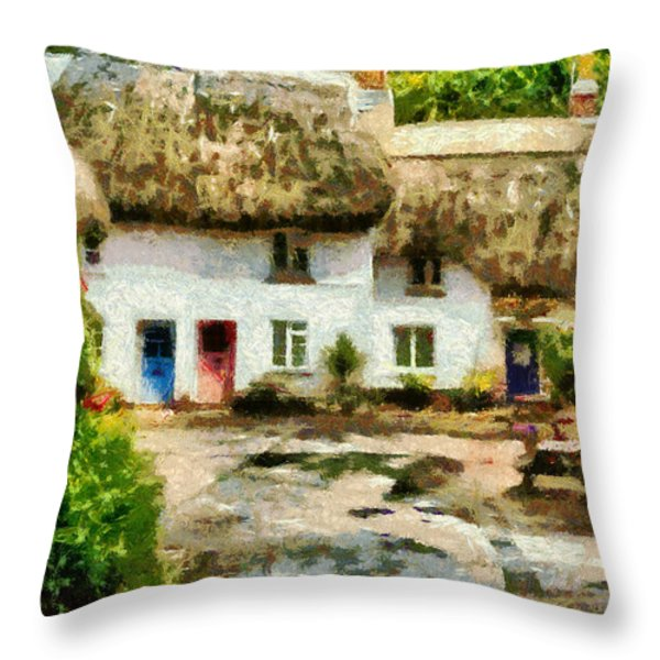 Countryside Cottages Throw Pillow by Jay Lethbridge