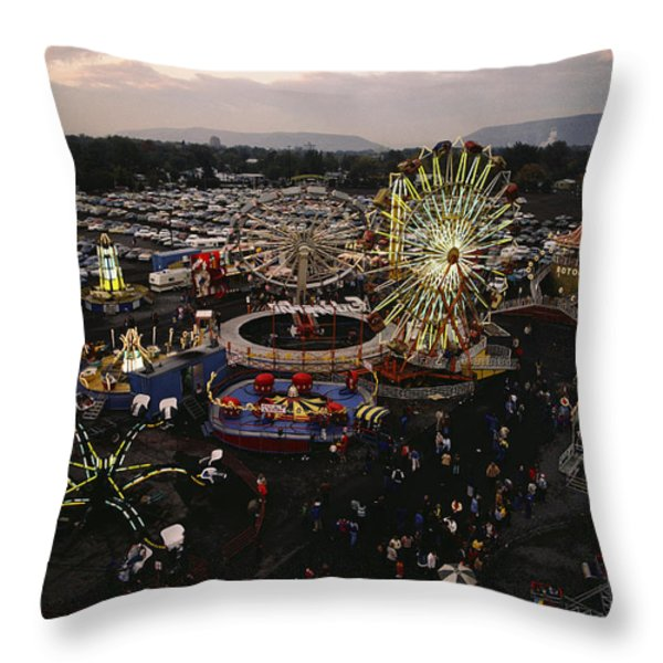 County Fair, Yakima Valley, Rides Throw Pillow by Sisse Brimberg