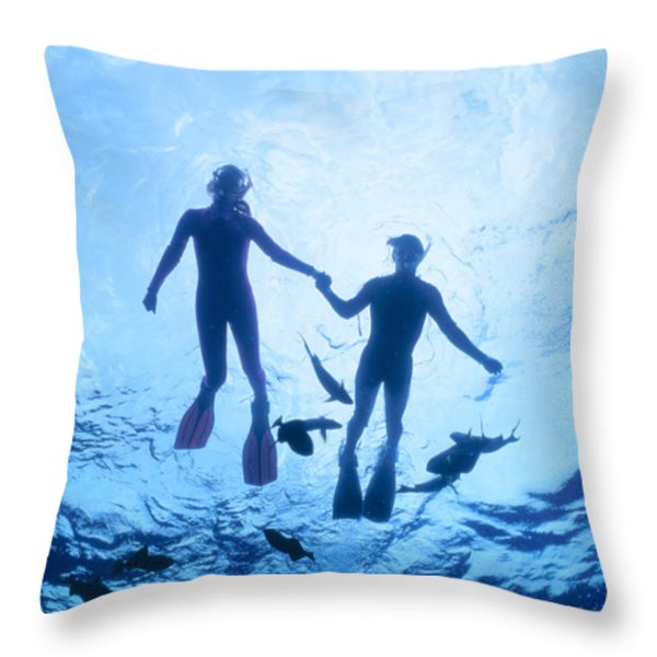 Couple At The Surface Throw Pillow by Ed Robinson - Printscapes