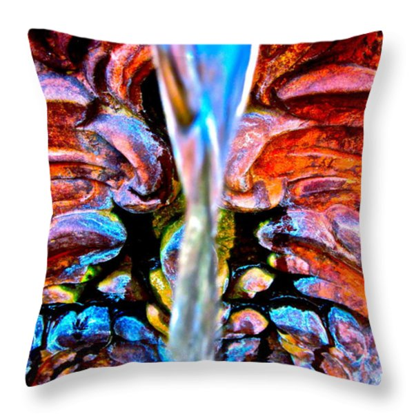 Courtyard Fountain Throw Pillow by Gwyn Newcombe