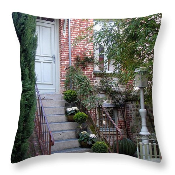 Courtyard In Honfleur Throw Pillow by Carla Parris