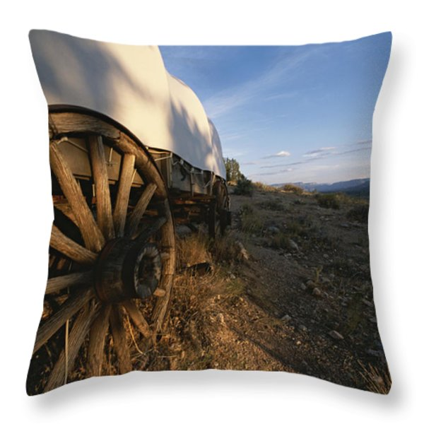 Covered Wagon At Bar 10 Ranch Throw Pillow by Todd Gipstein