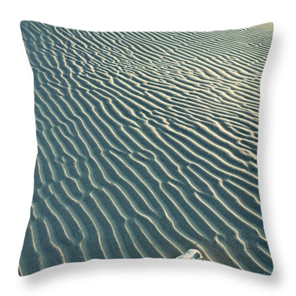 Cow skull in dunes Throw Pillow by Garry Gay