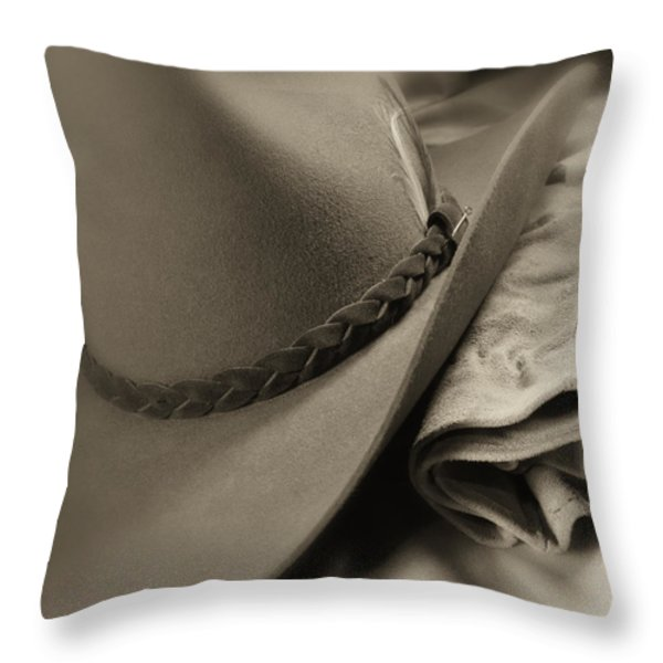 Cowboy Hat And Gloves Throw Pillow by Tom Mc Nemar
