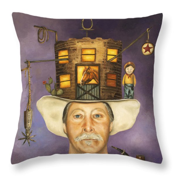 Cowboy Karl Throw Pillow by Leah Saulnier The Painting Maniac