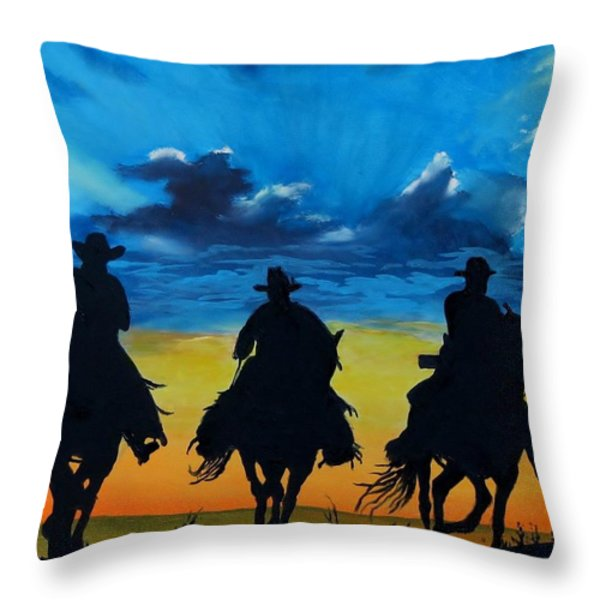 Cowboy  Sunset Throw Pillow by Stefon Marc Brown