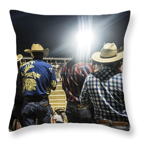 Cowboys at Rodeo Throw Pillow by John Greim