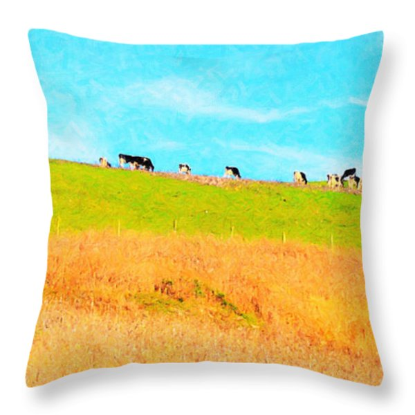 Cows On A Hill . 40D3430 . Painterly . Long Cut Throw Pillow by Wingsdomain Art and Photography