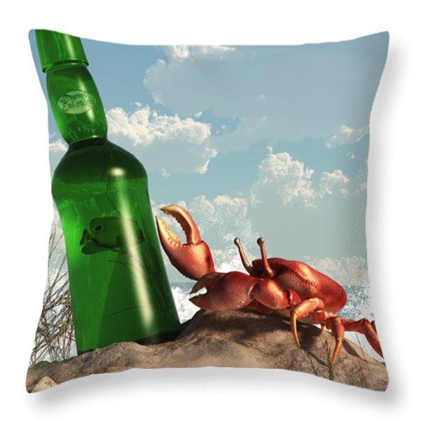 Crab With Bottle On The Beach Throw Pillow by Daniel Eskridge