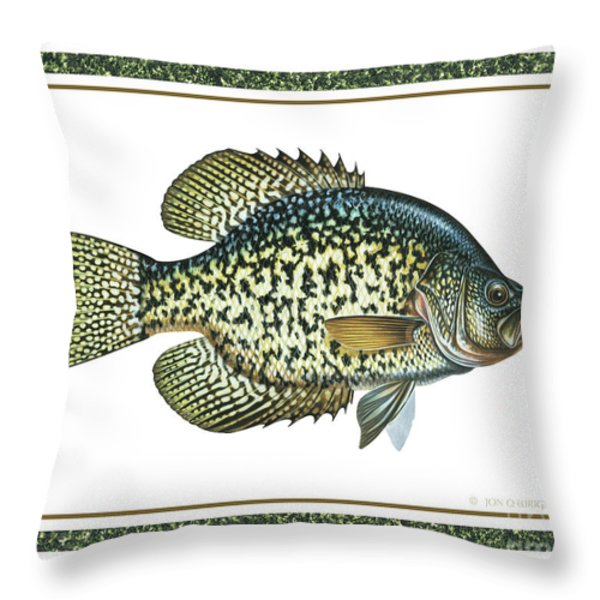 Crappie Print Throw Pillow by JQ Licensing