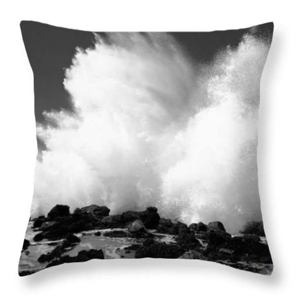 Crashing Wave - Bw Throw Pillow by Dana Edmunds - Printscapes