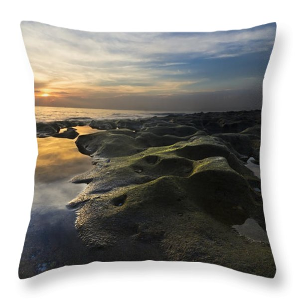 Crater Lake Throw Pillow by Debra and Dave Vanderlaan