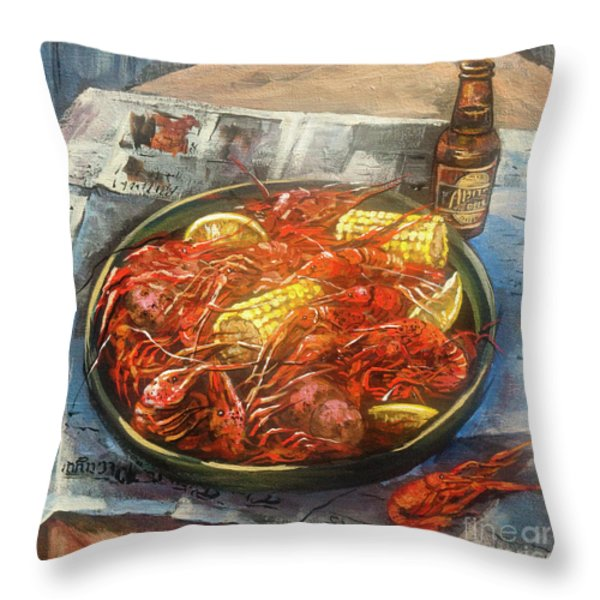 Crawfish Celebration Throw Pillow by Dianne Parks