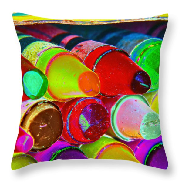 crayons retro II Throw Pillow by Bill Owen