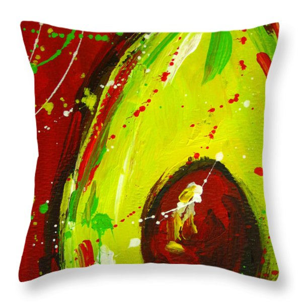 Crazy Avocado 3 Throw Pillow by Patricia Awapara