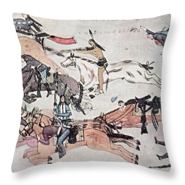 Crazy Horse At The Battle Of The Little Throw Pillow by Photo Researchers