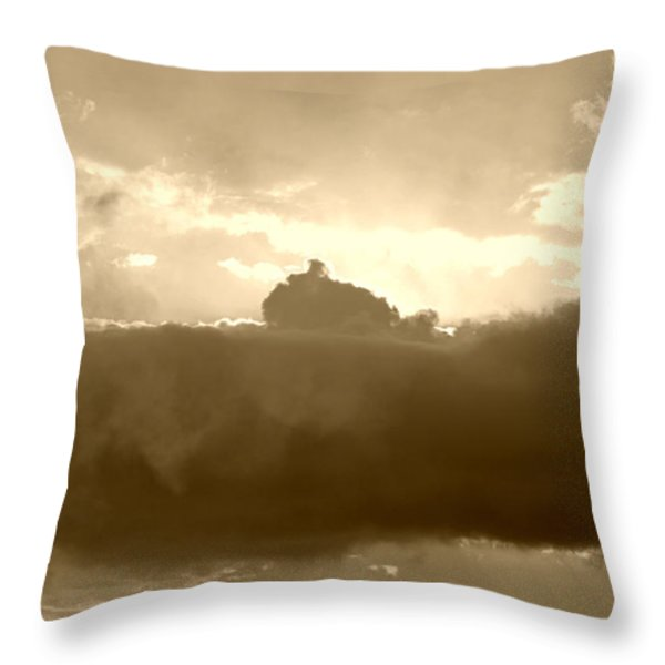 Creation In Sepia Throw Pillow by Suzanne Gaff