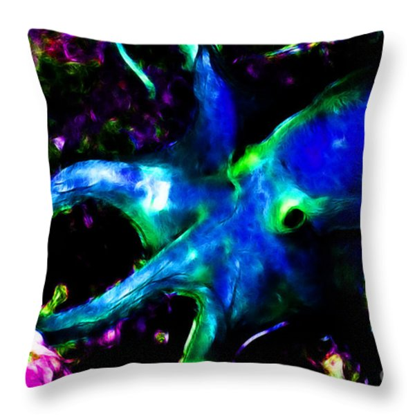 Creatures Of The Deep - The Octopus - V3 - Electric - Blue Throw Pillow by Wingsdomain Art and Photography