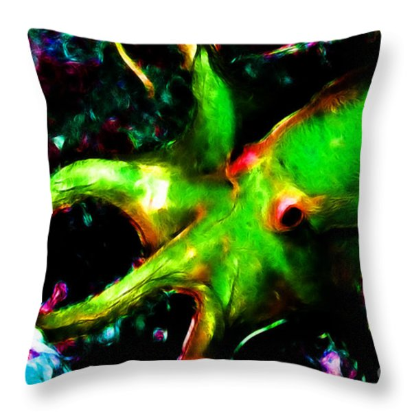Creatures of The Deep - The Octopus - v3 - Electric - Green Throw Pillow by Wingsdomain Art and Photography