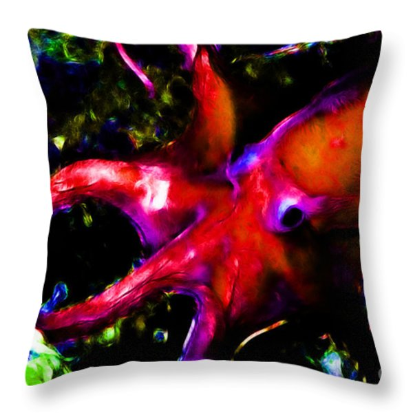 Creatures of The Deep - The Octopus - v3 - Electric - Orange Throw Pillow by Wingsdomain Art and Photography