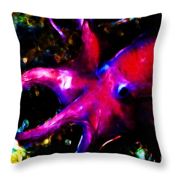 Creatures of The Deep - The Octopus - v3 - Electric - Red Throw Pillow by Wingsdomain Art and Photography