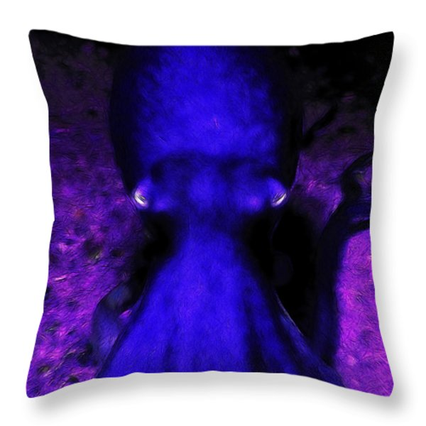 Creatures of The Deep - The Octopus - v4 - Blue Throw Pillow by Wingsdomain Art and Photography