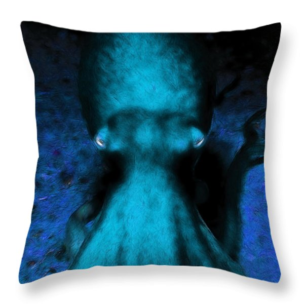 Creatures of The Deep - The Octopus - v4 - Cyan Throw Pillow by Wingsdomain Art and Photography
