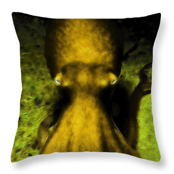 Creatures Of The Deep - The Octopus - V4 - Gold Throw Pillow by Wingsdomain Art and Photography