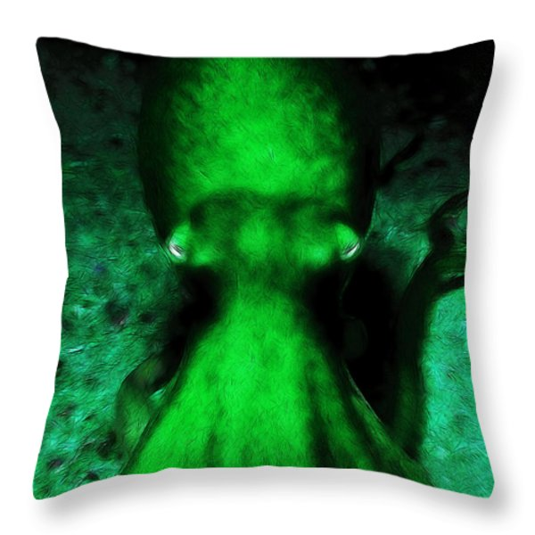 Creatures of The Deep - The Octopus - v4 - Green Throw Pillow by Wingsdomain Art and Photography