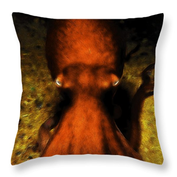 Creatures Of The Deep - The Octopus - V4 - Orange Throw Pillow by Wingsdomain Art and Photography