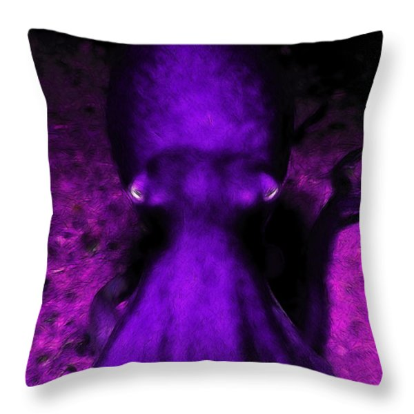 Creatures of The Deep - The Octopus - v4 - Purple Throw Pillow by Wingsdomain Art and Photography