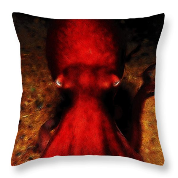 Creatures of The Deep - The Octopus - v4 - Red Throw Pillow by Wingsdomain Art and Photography