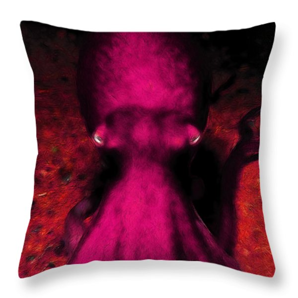 Creatures Of The Deep - The Octopus - V4 - Violet Throw Pillow by Wingsdomain Art and Photography