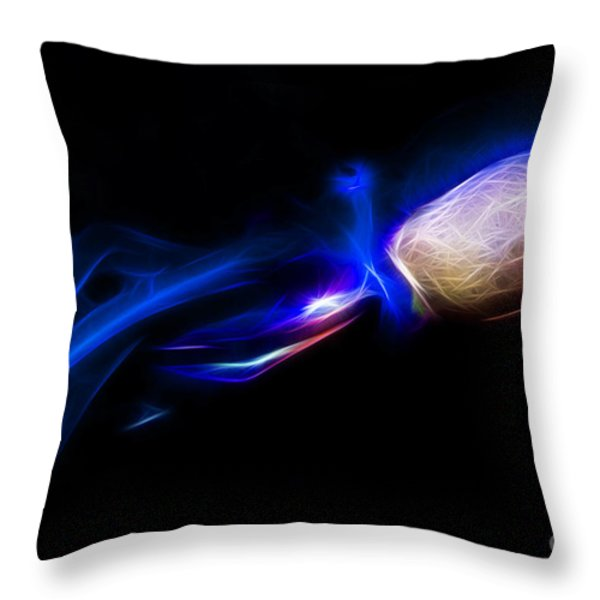 Creatures Of The Deep - The Octopus - V5 - Electric - Blue Throw Pillow by Wingsdomain Art and Photography