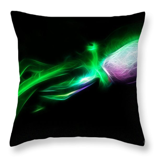 Creatures of The Deep - The Octopus - v5 - Electric - Green Throw Pillow by Wingsdomain Art and Photography