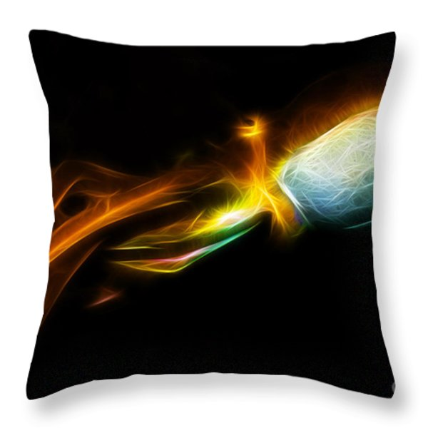 Creatures of The Deep - The Octopus - v5 - Electric - Orange Throw Pillow by Wingsdomain Art and Photography
