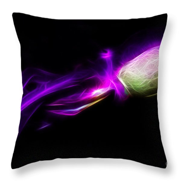 Creatures of The Deep - The Octopus - v5 - Electric - Purple Throw Pillow by Wingsdomain Art and Photography