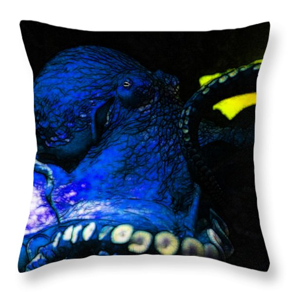 Creatures of The Deep - The Octopus - v6 - Blue Throw Pillow by Wingsdomain Art and Photography