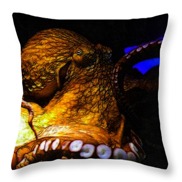 Creatures Of The Deep - The Octopus - V6 - Gold Throw Pillow by Wingsdomain Art and Photography