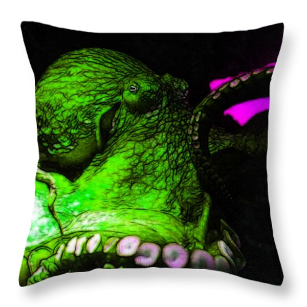 Creatures of The Deep - The Octopus - v6 - Green Throw Pillow by Wingsdomain Art and Photography