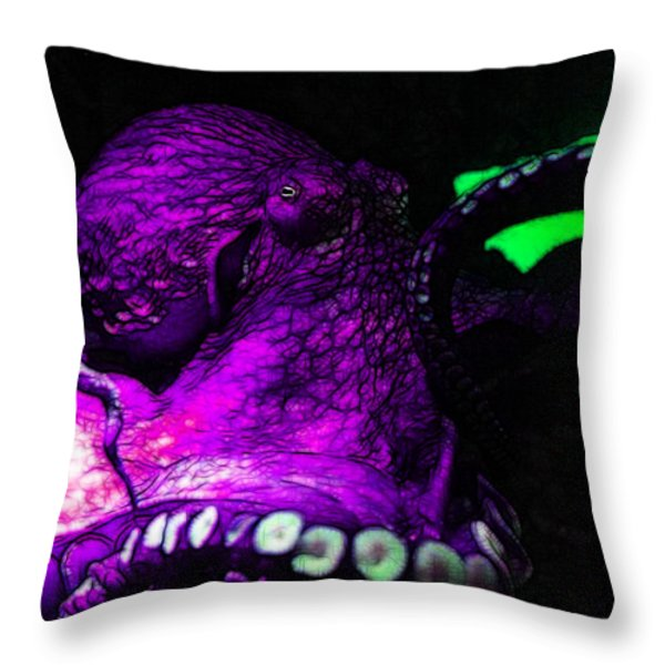 Creatures of The Deep - The Octopus - v6 - Violet Throw Pillow by Wingsdomain Art and Photography